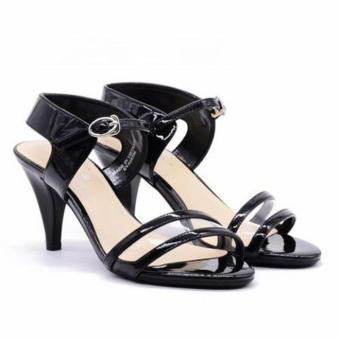 Sandal cao gót Evashoes Eva68596 Đen nhũ