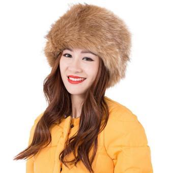 Women Girls Fashion Earwarm Faux Fur Plush Headband Hat Outdoor Winter Ski Snow Earmuff Cap Khaki - intl