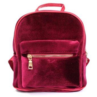 Women Fashion Cute Backpacks Velvet Casual Style Retro Backapck Solid Flannel Girls Mochila Zipper Small Bags Red - intl