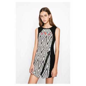Váy Đầm Nữ Họa Tiết Thêu Hoa Ngay Cổ Desigual Dress Oregon 71V2YP1200036