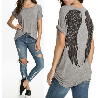 Women Short Sleeve Print Loose Cotton Casual Tops - Intl