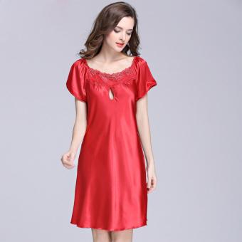 Váy ngủ lụa tay ngắn ZANI ZWV8022R-Màu đỏ