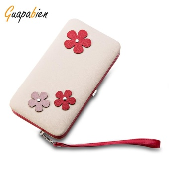 Guapabien Lovely Flower Applique Portable Clutch Women Purse Wallet(Off White) - intl