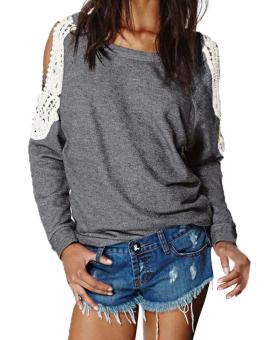 Womens Off Shoulder Casual Lace Sweatshirt Jumper Hoodies (Intl)