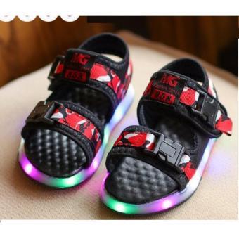 Giày bé trai sandal 2 quai ngang có đèn SC017 (Đỏ)