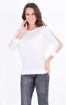 Sunweb Fashion Women's Trendy Long Sleeve Loose T-Shirt Batwing Tops Blouses Black ( White ) - intl