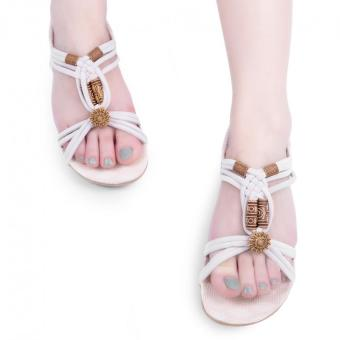 Elegant Ladies Bohemia Sandals Beads Weave Open Toe Wedge Heel Gladiator (White) - intl