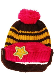 Lalang Baby Kids Knit Crochet Winter Beanie Hat (Brown/Pink)