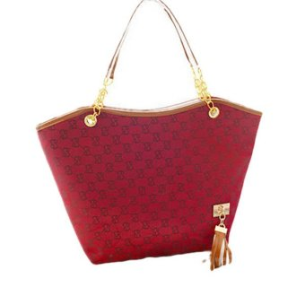 Womens Ladies Designer Leather Tote Bags Shoulder Handbag Shopper Satchel Red - intl