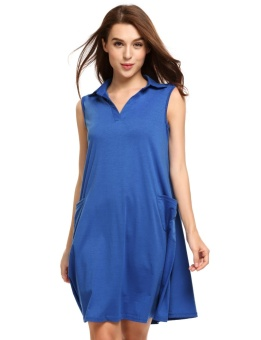 Cyber Women Casual Sleeveless Solid Lapel Pullover A-Line Dress ( Blue ) - intl