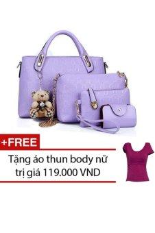 Bộ 4 túi họa tiết cao cấp (Tím ) + Tặng 1 áo thun body nữ