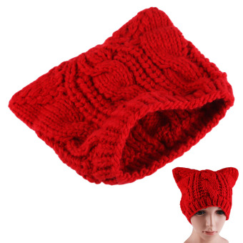 Winter Fahion Cat Ear Knit Hat Red