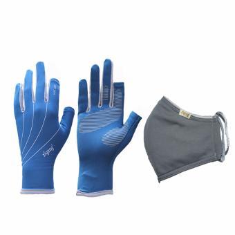 Bộ gồm găng tay easy+ khẩu trang chống nắng UPF50+ zigzag COGM12 (xanh xám+ xám)