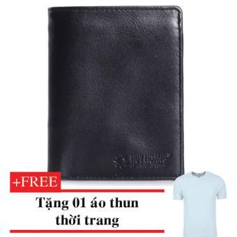 HM2108-Bóp nam kiểu đứng (Đen) + Tặng 01 áo thun thời trang