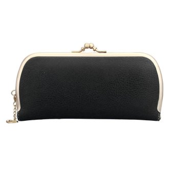 Women Candy Colored Retro Clutch Wallet (Black)