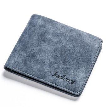 Men Student Wallet Short Style Retro Frosted 2 Folds Cross Vertical Young Fashion Multi-card Bits Card Holder Wallets - intl