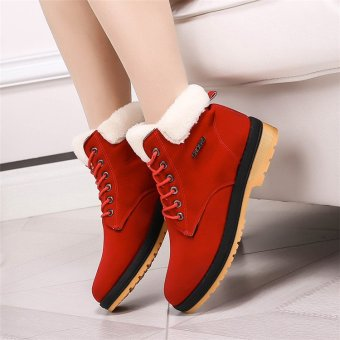 Womens Winter Warm Casual Faux Suede Fur Lace-up Ankle Boots Snow Boots Shoes Red - intl