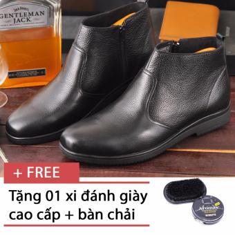 Giày bốt công sở kéo khóa tăng chiều cao SMARTMEN GD-444 (Đen), tặng kèm xi và bàn chải