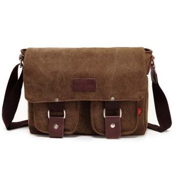 BolehDeals Vintage Men's Shoulder Bag Military Canvas Messenger Bag School Bag Coffee - intl