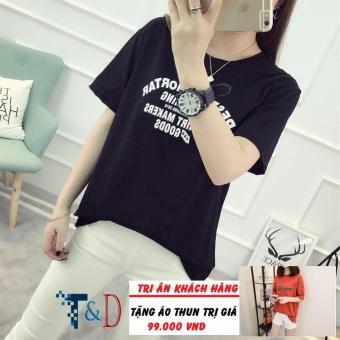 Áo Thun Nữ In Hình T-Shirt Dễ Thương Trần Doanh D326 ( Màu Đen ) + Tặng Áo Thun In Hình T&D Cao Cấp