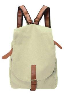 Cyber Women Vintage Canvas Satchel Rucksack Travel School Backpack (White) - Intl