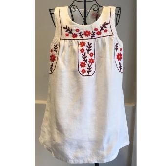Đầm Linen thêu Somy Kids màu trắng