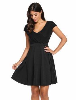 Linemart V-Neck Cap Sleeve Solid Casual Summer Skater Dress ( Black ) - intl