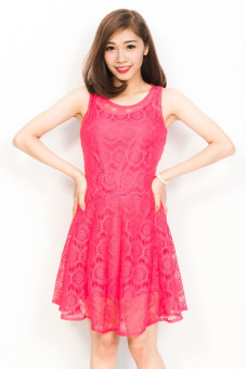 Đầm ren hồng Suvanna MD107H (Hồng)
