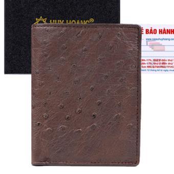 HL2408 - Bóp nam da đà điểu Huy Hoàng da bụng kiểu đứng màu nâu đất