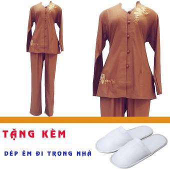 Bộ áo quần Phật tử nữ đi chùa An Huy Nghi (đà nâu) + Tặng 2 đôi dép nỉ đi trong nhà