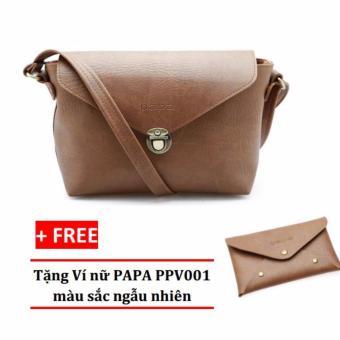 Túi đeo chéo nữ PAPA PPT005 (Bò nhạt) + Ví nữ PAPA PPV001
