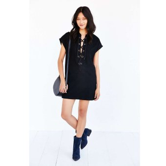 Zaful Chest Strap Denim Dress V neck Woman Raglan Sleeve Pocket(Black) - Intl