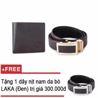 Bộ ví và thắt lưng nam da bò LAKA nâu trơn + Tặng 01 thắt lưng nam da bò LAKA (Đen trơn) trị giá 300000đ