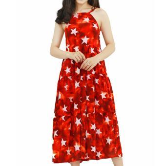 Đầm maxi hoa đỏ