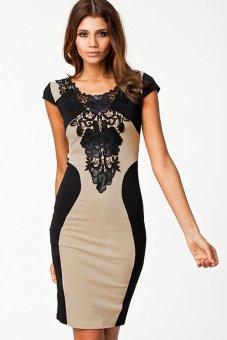 Linemart Sleeveless Lace Neck Dress (Black) - intl
