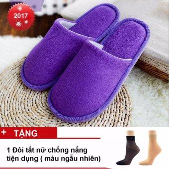 Bộ 2 Đôi Dép Bông Đi Trong Nhà, Văn Phòng Nam Nữ - Hàng Nhập Khẩu ( Violet)+ Tặng 1 đôi tất da chân chống nắng, kháng khuẩn ( Black)