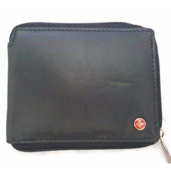 Ví Da Đen Nam Zipper Alpine Swiss Genuine Leather Zipper Bifold