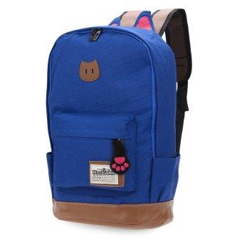Preppy Style Portable School Backpack Zipper Buckle Girl(Blue) - intl