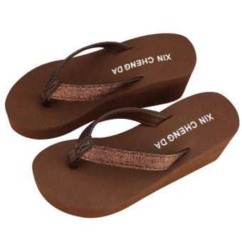 Fashion Women Platform Flip Flops Thong Wedge Beach Sandals Shoes - intl