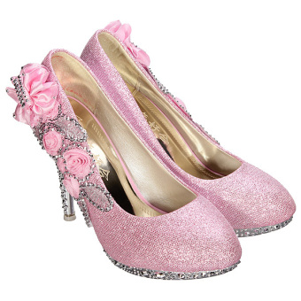 Women Sexy Wedding Bridal Pumps Party Crystal High Heels Pink - Intl