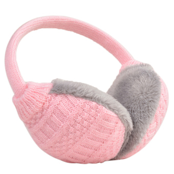 Unisex Women Men Plush Woven Winter Warm Earmuff Earlap Winter Ear Muffs Warmer Muff Pink - intl
