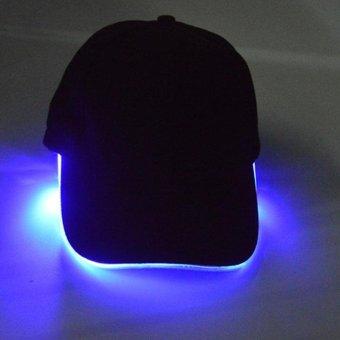 LED Light Flash Baseball Cap Fashion LED Lighted Glow Club Party Black Fabric Travel Hat Baseball Cap Performance Cap - intl
