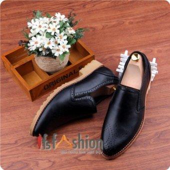 Giày Lười Nam Hàn Quốc Màu Đen Có Hoạ Tiết Mũi Giày Mã Sản Phẩm HQ105
