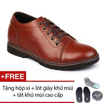 Giày da tăng chiều cao SMARTMEN GD2-08 (Nâu) + Tặng 1 hộp xi + 1 lót giày khử mùi + 1 đôi tất khử mùi