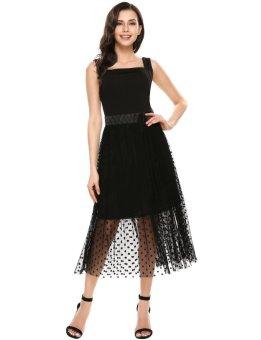 Cyber Women Casual Sleeveless Mesh Patchwork Square Neck Vintage Maxi Dress ( Black ) - intl