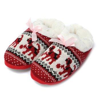 Women Comfort Warm Soft Indoor Outdoor Home Slippers Shoes Puppy Snowflake Heart Red - intl