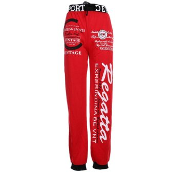 Mens Casual Pants Jogging Tracksuit Bottoms (Red +Navy blue) (XL) - intl