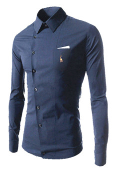 REVERIEUOMO CS36 Single-Breasted Shirt (Blue) - Intl