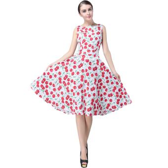 Fancyqube Floral Print Maxi Dresses Women Beach Long Print Dress Red Green