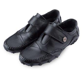 Male Pure Color Skid Resistance Leather Shoes(Black) - intl--TC